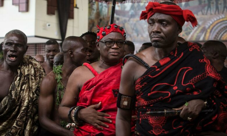 It is not uncommon, in some parts of Ghana, for burial ceremonies to last up to seven days, drawing thousands of crowds adorned in flowing red and black robes.