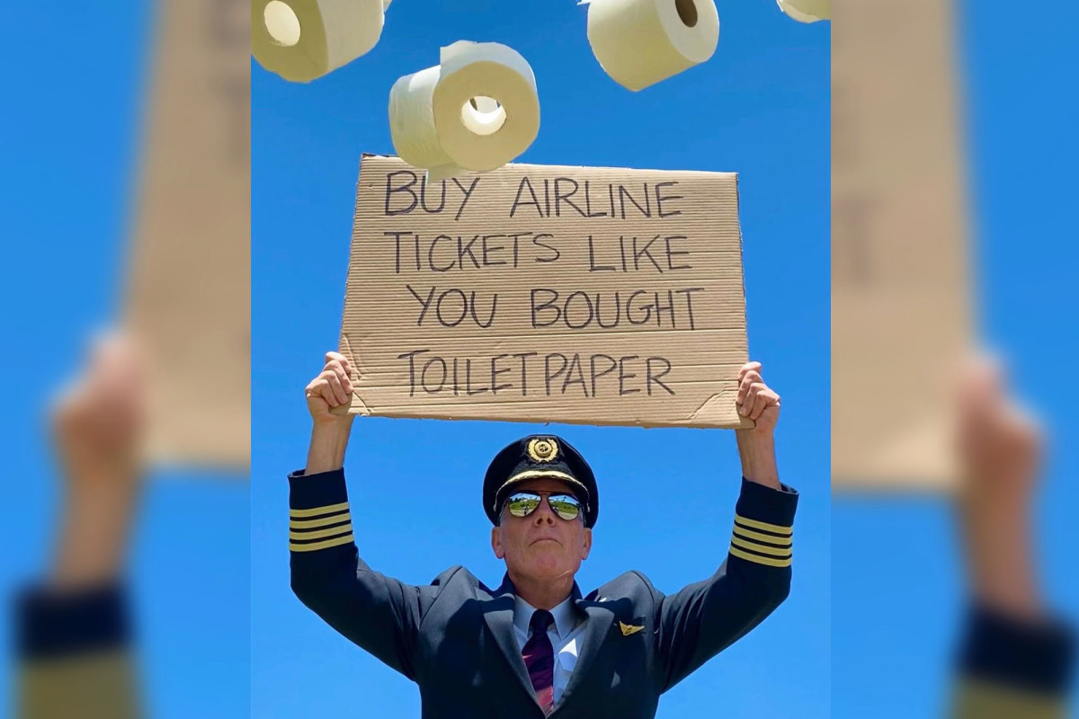 The airline captain asks people to 'buy plane tickets' like they 'buy toilet paper'