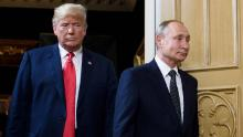 President Donald Trump and Russian President Vladimir Putin arrived for a meeting in Helsinki in July 2018.