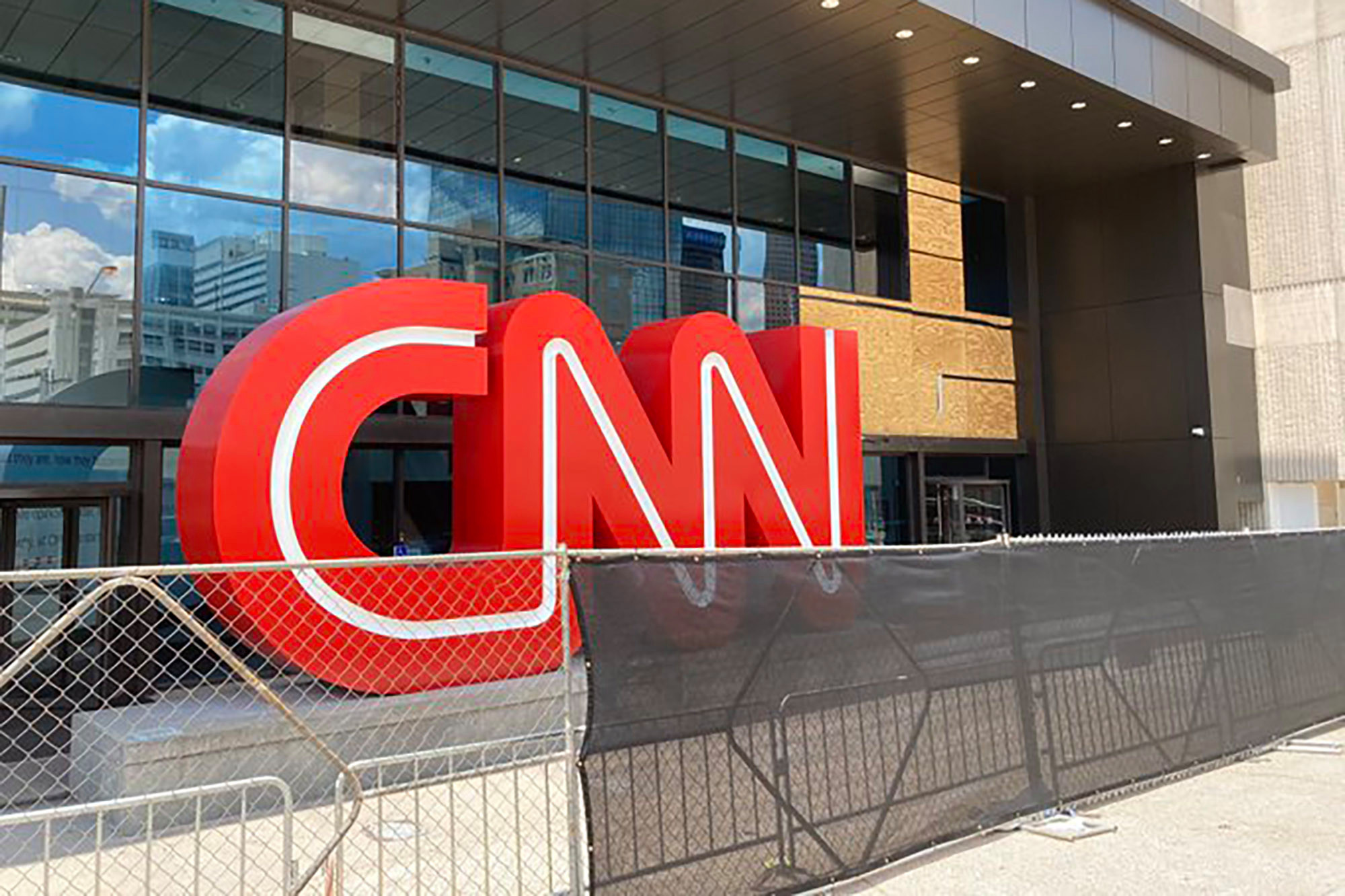 CNN Center in Atlanta erected a fence to ward off protesters