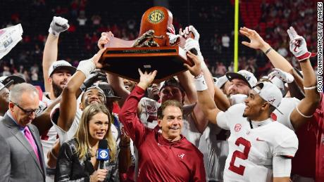 Head coach Nick Saban and the Alabama Crimson Tide celebrate after defeating the Georgia Bulldogs 35-28 in the 2018 SEC Championship Game at Mercedes-Benz Stadium on December 1, 2018 in Atlanta, Georgia. (Photo by Scott Cunningham/Getty Images)