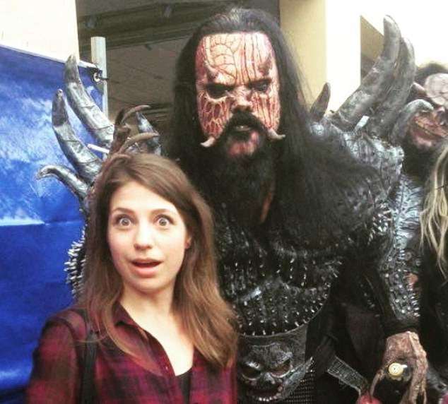 Miss Stasevska is pictured with musician Mr Lordi, the lead vocalist in heavy metal band Lordi