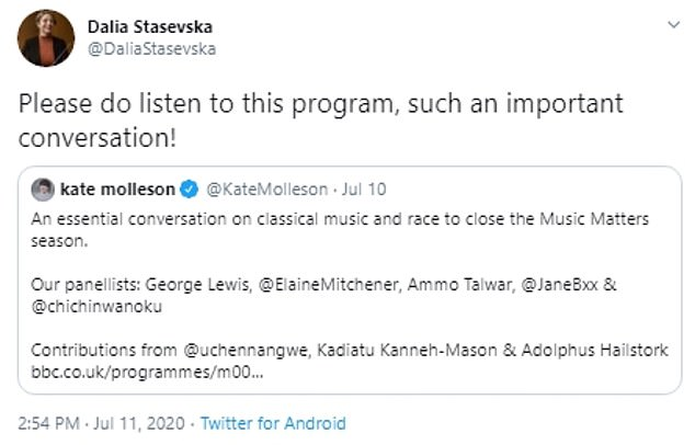 Last month she also encouraged her 2,100 Twitter followers to listen to a BBC Radio 3 debate about classical music and race, calling it an 'important conversation'
