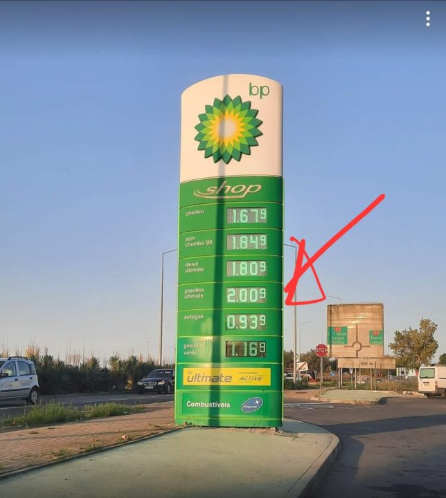 There are already stations in Portugal where the fuel exceeds 2 € / l.